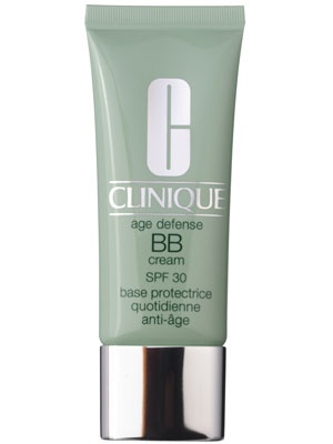 For a luminous finish: Clinique Age Defense BB Cream SPF 30  The silica and mica pigments don't just shimmer—they reflect light to makes skin look believably dewy. The hydrating formula contains caffeine to soothe skin and reduce the appearance of wrinkles, and antioxidant vitamin E. It comes in two shades (for skin with pink or golden undertones) so it's easy to find your match.