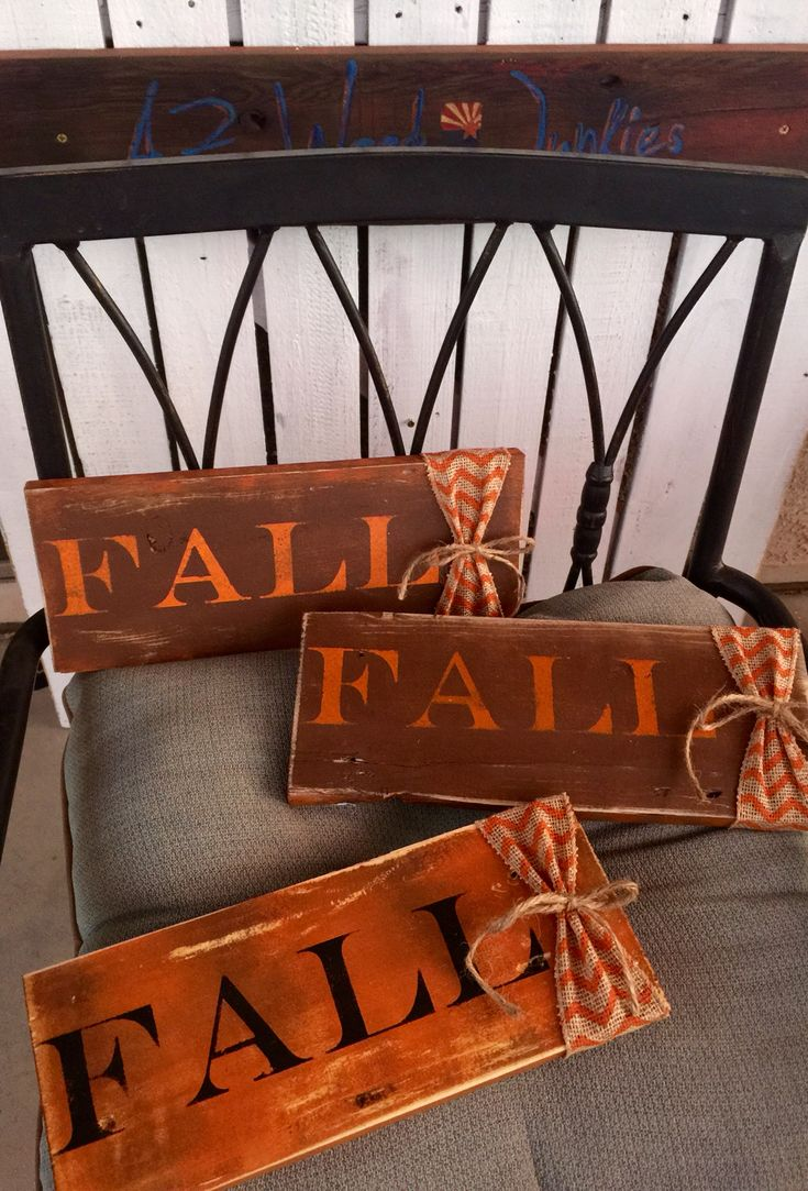 Fall wood handpainted signs.                                                                                                                                                      More