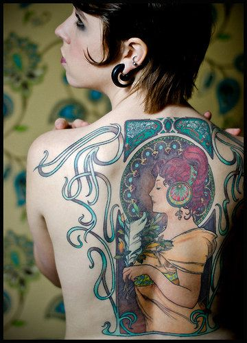 mucha-esque tattoo: Mucha Tattoo, New Tattoo Art, Art Tattoo, Back Tattoo, Artnouveau, Back Pieces, Tattoo Ink, Art Deco, Alphonse Mucha