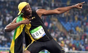 He went there: Usain Bolt celebrates winning – again – Olympic gold in the men's…