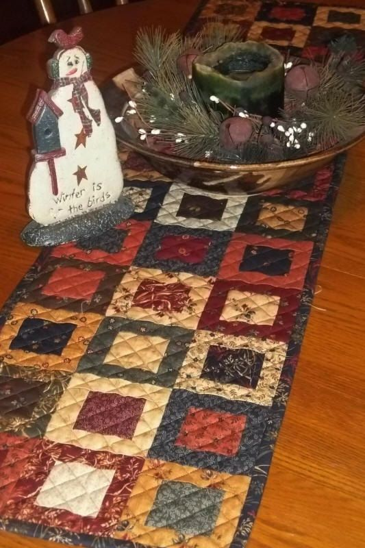 """Primitive Quilt Table  Runner Pattern by Creekside Stitches 11"""" X 46"""" available on Etsy from PrimitiveStitches"""