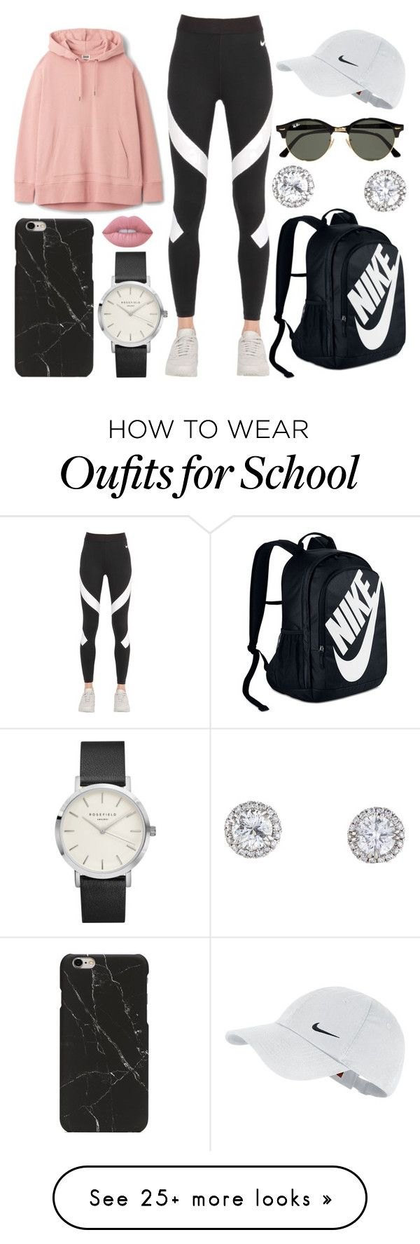 """School Day"" by susanna-trad on Polyvore featuring NIKE, Ray-Ban and Lime Crime"