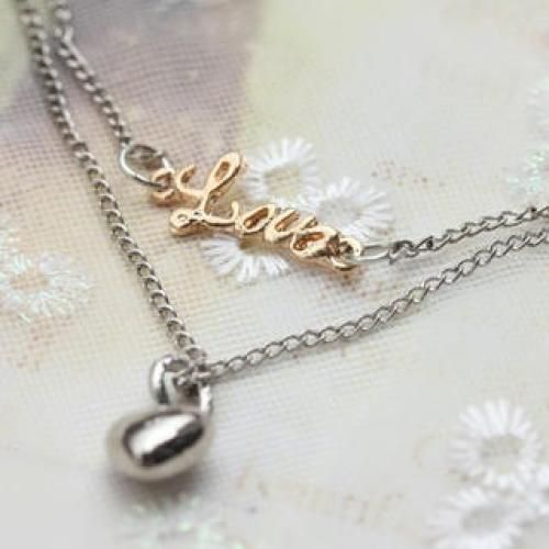 LOVE letters with herat double chain Necklace
