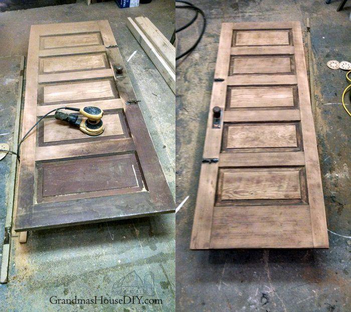 Refinishing An Old Door For My New Guest Bedroom And Library Old Wood Doors Refinish Door Old Wooden Doors