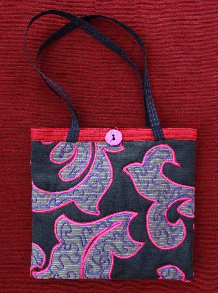 Judy Rogers Textiles Handbag  Textile Wearable Art Fleur Swirls $45-