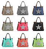 OBC ital-design XXL DAMEN STERN SHOPPER Tasche Canvas Schultertasche sportliche Stofftasche CrossOver Umhängetasche Handtasche Strass…