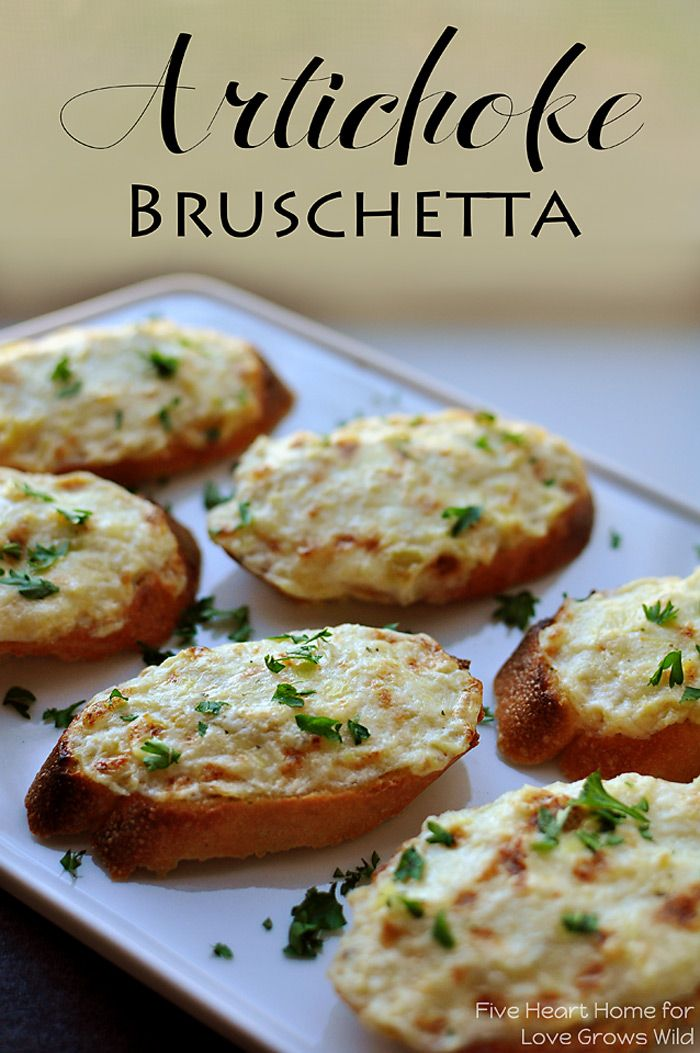 Artichoke Bruschetta {or} Hot Artichoke Dip ~ an easy appetizer or dip, depending on how fancy the occasion is   {Five Heart Home for Love G...