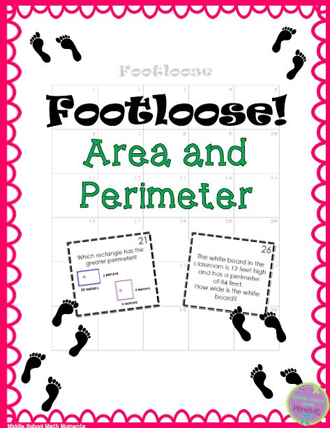 """The Best of Teacher Entrepreneurs II: FREE MATH LESSON – """"Area and Perimeter Footloose!""""...includes 30 question cards about area and perimeter of rectangles (the cards are available with and without a background - same questions on both sets - just the option of a background when printing).  The questions require students to: * calculate area and perimeter of rectangles * find missing sides * find perimeter when given area and a side length * compare areas and perimeters of rectangles"""