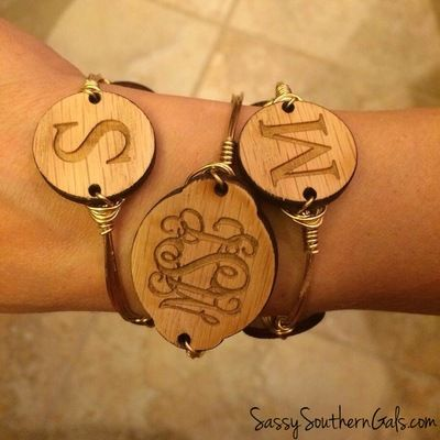 Wood monogram bangle wire bracelet w/ engraved wood monogram