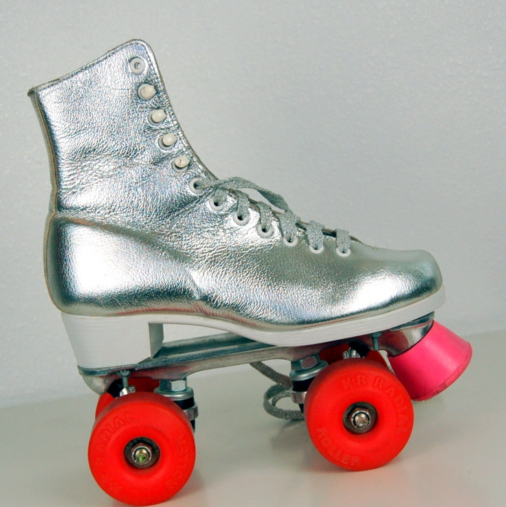 Disco Funk Metallic Leather Rollerskates 56 by poetryforjane robot wheels