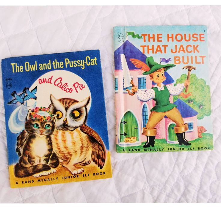 1940s Children's Books, vintage Rand Mcnally Junior Elf Books, The House that Jack Built, The Owl and the Pussycat and Calico Pie