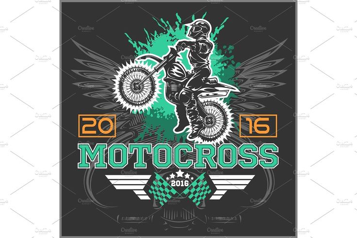 Extreme motocross. Emblem, t-shirt design. - Illustrations - 1