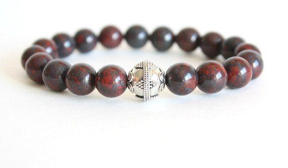 Men's Bracelet Red Jasper Stone & Bali Sterling Silver Stretch Bracelet Bohemian Jewelry on Etsy, $35.00 CAD