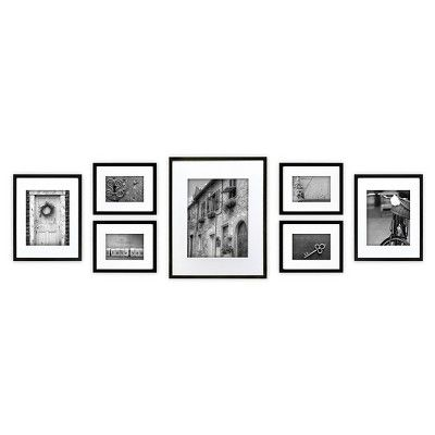 Gallery Perfect 7 Piece Multi-Size Wall Frame Set - Black