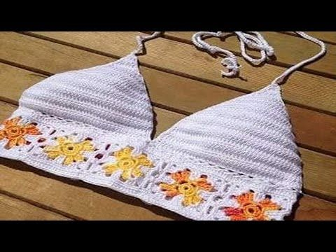 Cómo hacer top bikini de ganchillo. How do crochet bikini top. - YouTube