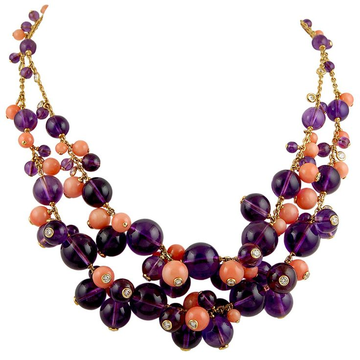 1stdibs   CARTIER Amethyst, Coral and Diamond Necklace
