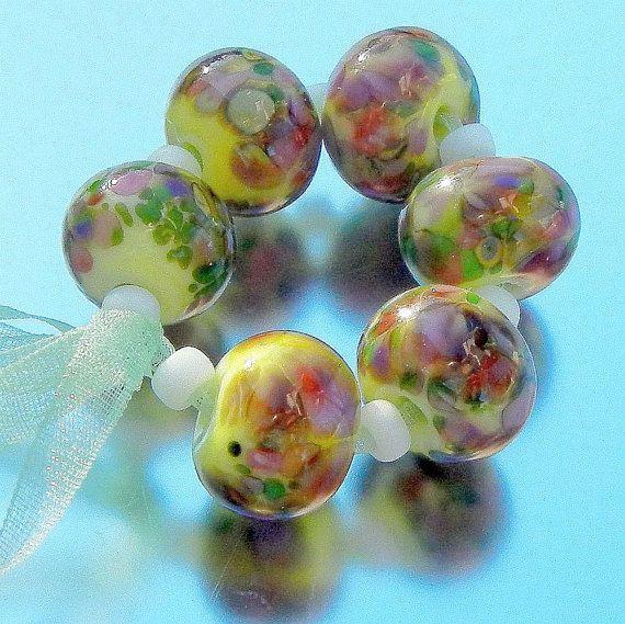 Spring Garden Lampwork Beads Handmade Glass Beads Sra