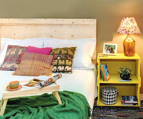 reused boxes as bedside table