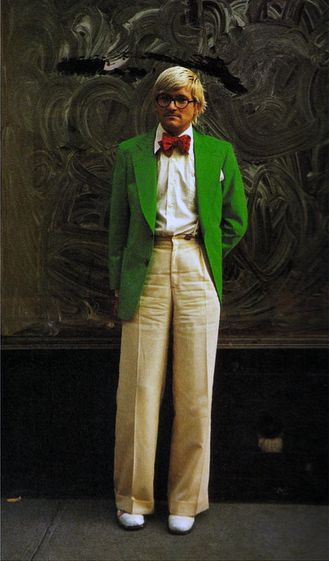 David Hockney has a considered yet care free attitude to dressing.  He wears his own 'look' with confidence.