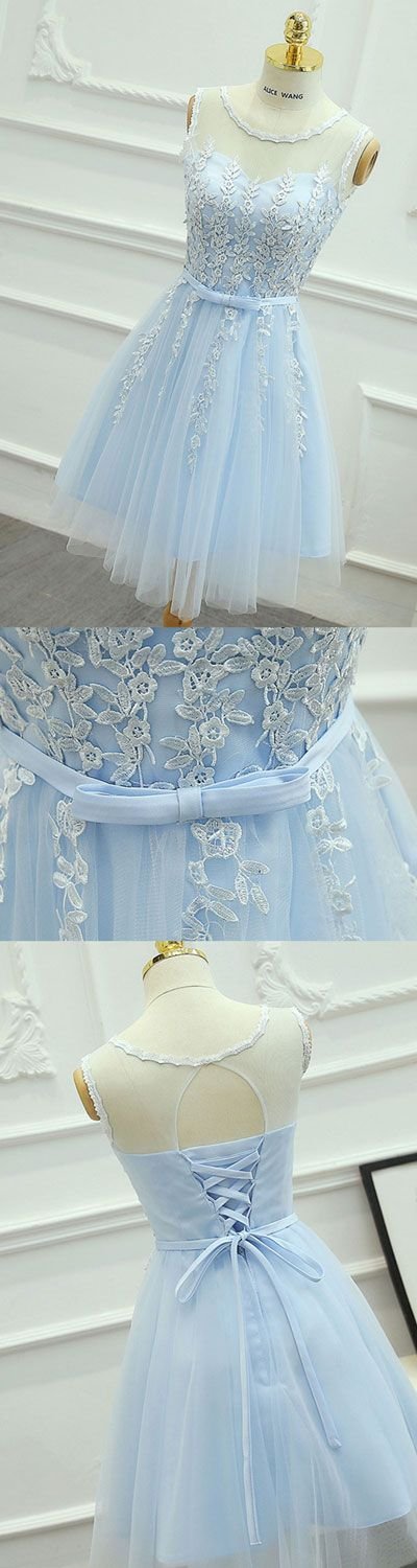 cute round neck lace tulle blue prom dress, homecoming dress