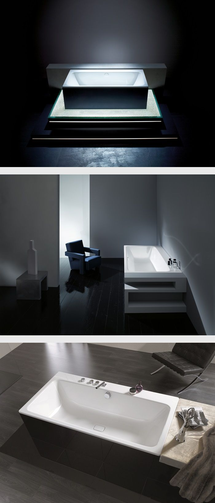 A bath with a comfort zone: with its generously proportioned storage shelf, the ASYMMETRIC DUO also has a spatial dimension. It can be used as a seat or for holding bath utensils, and also for the individual positioning of taps. #Kaldewei #Bathtub #Bath #Badewanne #Badezimmer #Bathroom #AsymmetricDuo