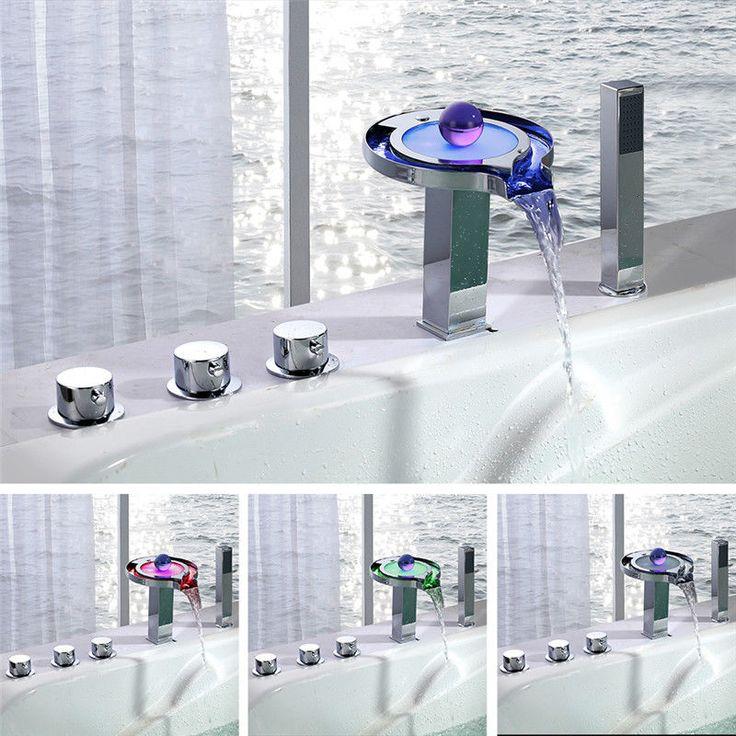 5-Loch LED Wannenrand Badewanne Armatur Wasserhahn Wasserfall Badewannenarmatur