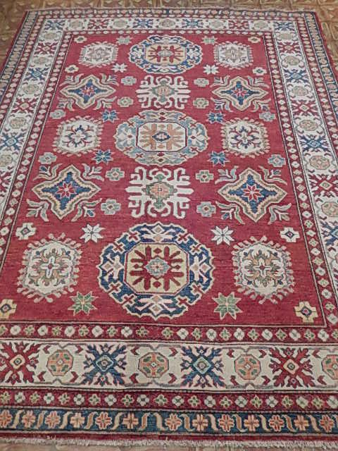 Stone Washed Area Rug 7x9 Kazak Hard-Wearing Carpet Handmade (287x226 cm)