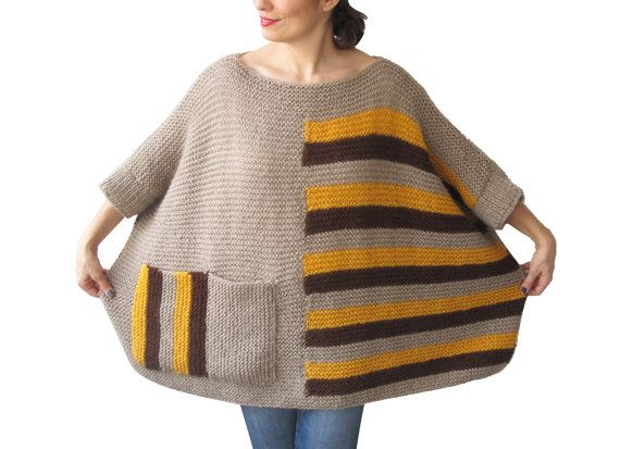 Plus Size  Over Size Sweater Beige Brown Yellow Hand by afra