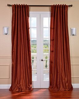 Burnt Orange Vintage Faux Dupioni Silk 120-inch Curtain Panel - contemporary - curtains - by Overstock.com
