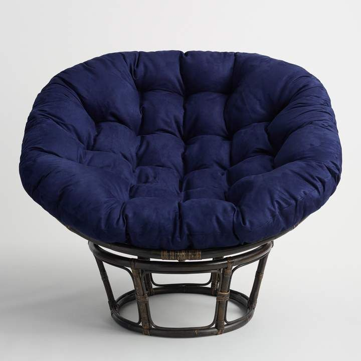 Cost Plus World Market Navy Blue Microsuede Papasan Chair Cushion