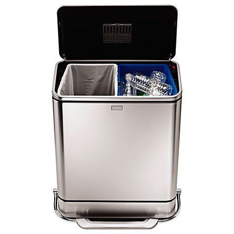 Buy simplehuman Rectangular Steel Bar Recycler, 48L Online at johnlewis.com