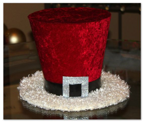 Santa Claus top hat, Christmas Hat, Candy cane, Christmas tree topper, Christmas table decoration
