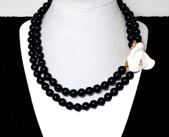 New Listings Daily - Follow Us for UpDates -  Merry Christmas Sale - 20% off Kenneth Jay Lane Necklace - Black Lucite Beads with Large White Rose Rhinestone Flower Pendant - Double Strands - #Vintage 1990s KJL for Avon ... #vintage #jewelry #teamlove #etsyretwt #ecochic #thejewelseeker ➡️ http://etsy.me/2g3yEsF