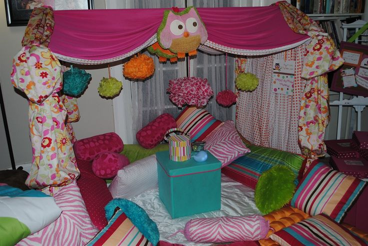 slumber party, tent, w/ throw pillows and Ottoman as stand in middle, also movies. And snacks