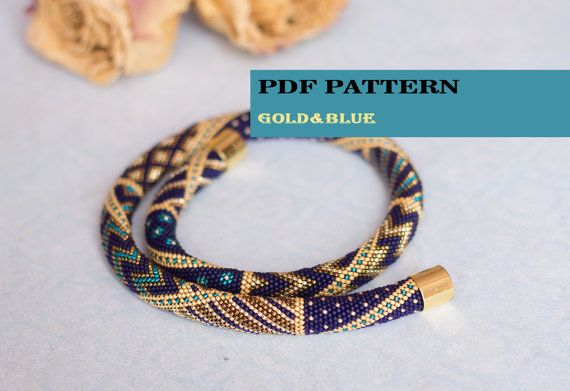 PDF Pattern for beaded crochet necklace - Seed bead crochet rope - Jewelry patterns - Geometric pattern - Gold blue necklace - Office jewels