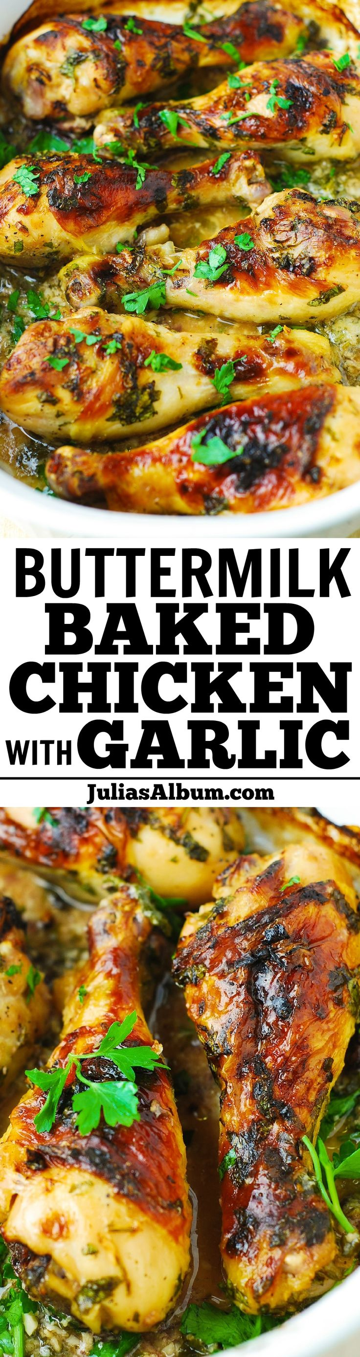 Buttermilk Baked Chicken - crispy on the outside, and the meat is moist and flavorful! Healthier way to cook chicken!