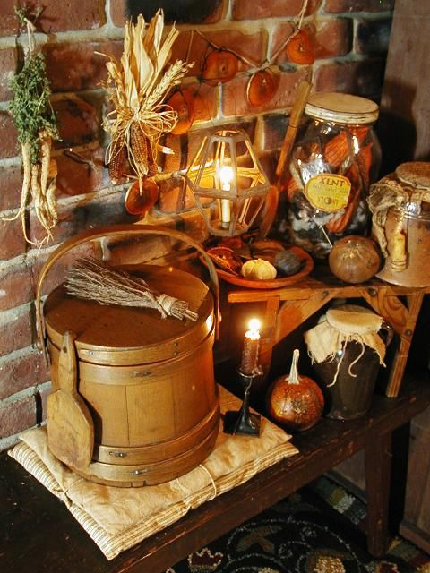 autumn firkinfall candlelight primitive autumnprimitive decorcountry