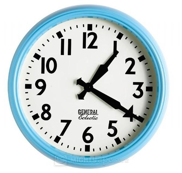 General Eclectic Retro School Clock (Turquoise). Rewind back to your school days with General Eclectic's retro School Style Clock in Turquoise! Sure to bring back fond memories and keep you on schedule.