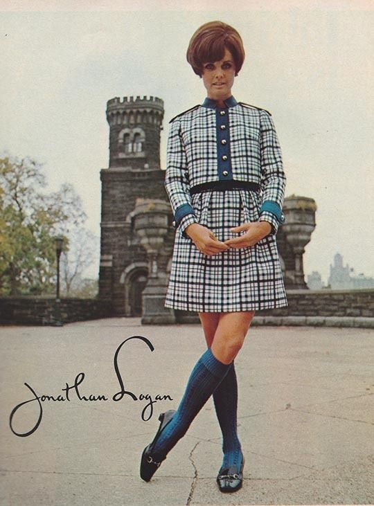 """justseventeen: """"January 1968. 'Swing into the New Year with a Highlander plaid short jacketed dress that steps up any wardrobe.' """""""