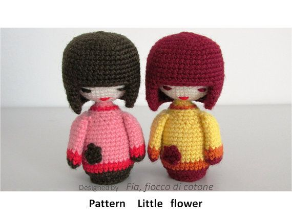 Little Flower is h. 11 cm = 4,3 inch. and diameter 2,5 cm = 0,78 inch .  Made in wool , hook 2 mm.  Stuffed with fiberfill.    Stable in standing.
