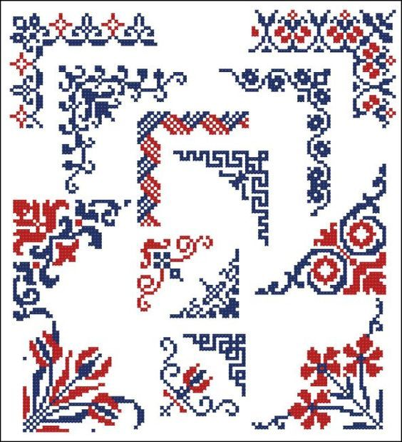 Corners cross-stitch: