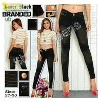 Celana jeans robek online branded laser Black