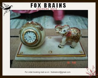 FOX BRAINS is a solutions driven gifting Organization. Our mission is to simply make gifting easier.  We are one of the best corporate gifting companies and we  offer seasonal gifts to last-minute gifts, desktop gifts to outdoor gifts, small quantities to large quantities and trophies, leather articles, electronics, technical gifts etc. With over 30,000 products which includes brass , metal, iron, wall clocks, ceramic, sculptures, customized desktop , candles , candle stands, antiques,