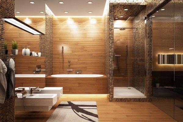 Salle de bains, baignoire et douche, mélange bois et carrelage bisazza