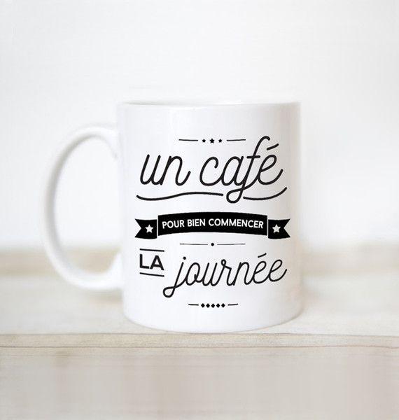 Tasses, Mug Un café pour bien commencer la journée est une création orginale de lemog sur DaWanda