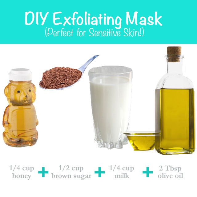 "This DIY exfoliating mask ""recipe"" is great for sensitive skin! You only need four ingredients tom ake it."