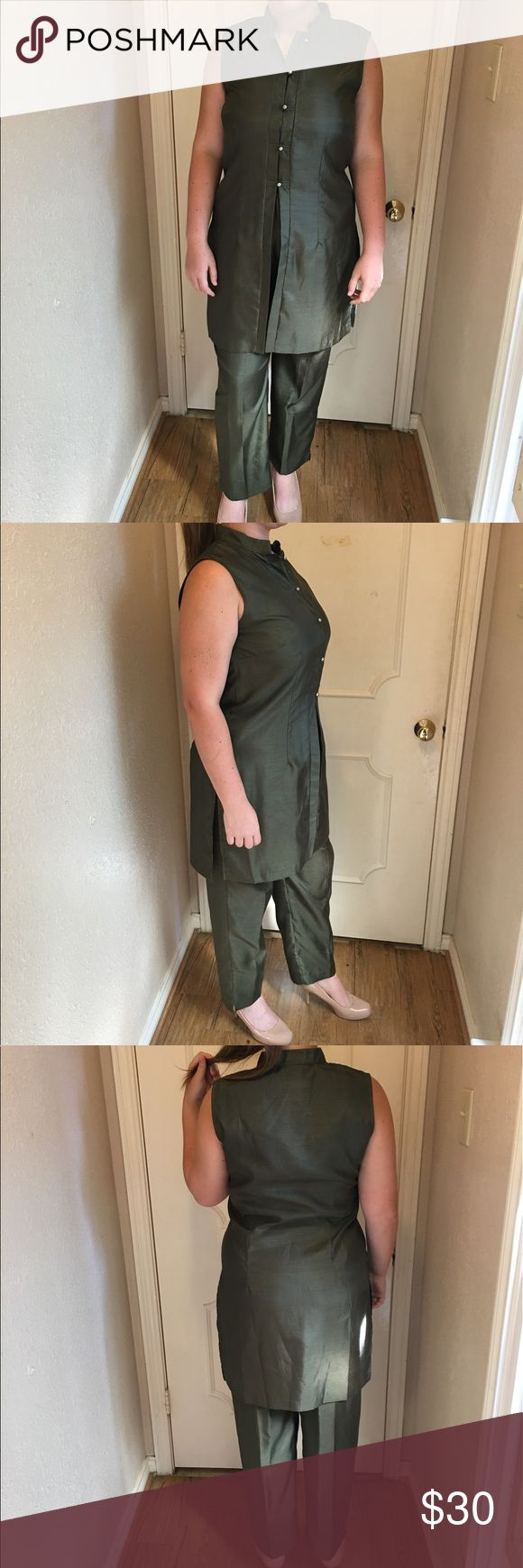 *VINTAGE* Beautiful Forest Green Pantsuit *VINTAGE* Beautiful forest green pant suit with Chinese inspired top and comfortable loose pants. Sheri Martin Other