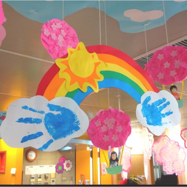 Rainbow + cloud handprint craft