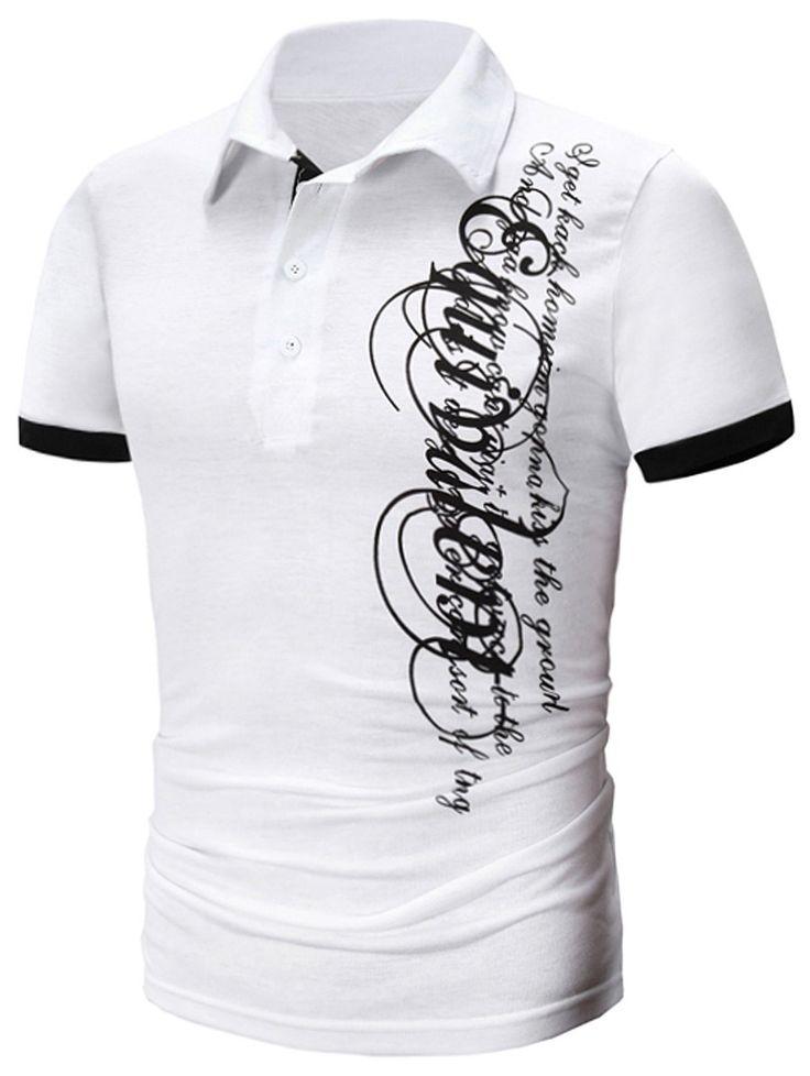 Panel Design Short Sleeve Graphic Print Polo T-Shirt - WHITE XL
