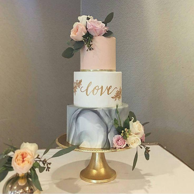 "Marbled grey wedding cake with blush and love!  #seddingcakeideas WEDDING (@weddingmagazine) on Instagram: ""Gorgeous #wedding cake from @honeycrumbcakes  #wedstagram #instawedding #foodporn…"""